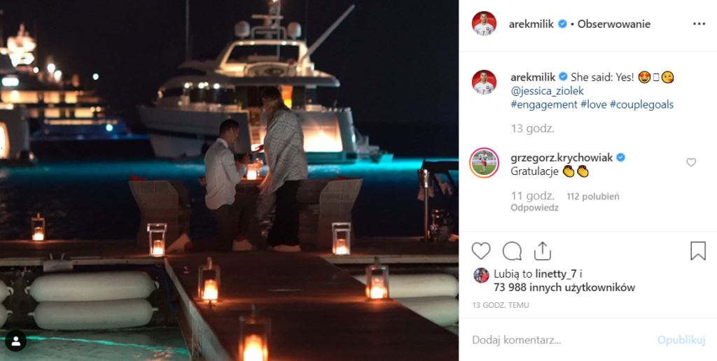 Arek Milik ogłosił na portalu Instagram swoje zaręczyny. Wybranką zawodnika włoskiego Napoli oraz Reprezentacji Polski jest Jessica Ziółek