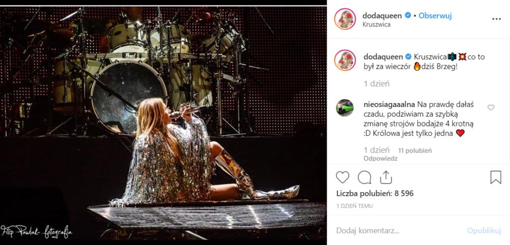 Doda dała koncert w mieście Kruszwica, przejdzie do historii! Zobacz na portalu Instagram. Jaki wpływ na byłą wokalistkę Virgin ma oskarżenie o szantaż?