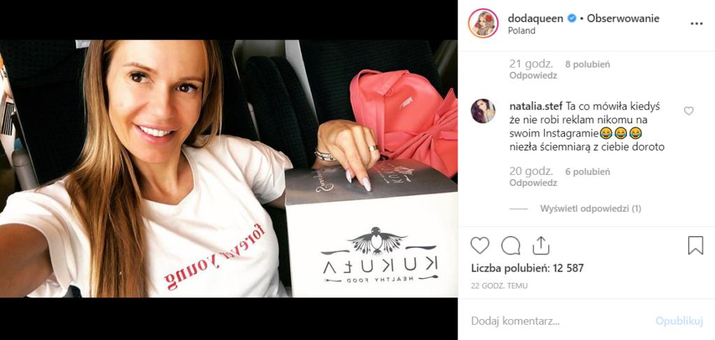 """Doda (Dorota Rabczewska) według fanów sprzedała sięna Instagram, jej dieta powoduje, że bohaterka programu """"Bar"""" reklamuje produkty, które w niej stosuje."""