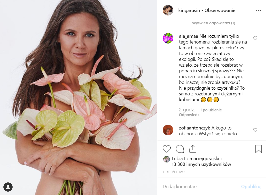 Kinga Rusin wzięła udział w sesji dla Viva, pochwaliła się fotografią na Instagram, jest tam nago. Gwiazda TVN i Zofia Klepacka wdały się ostatnio w kłótnię