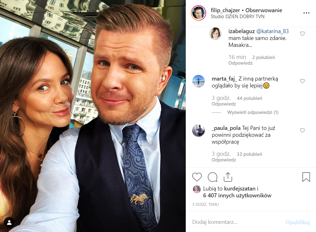 """Wpadka jaką zalicza Kinga Rusin jest komentowana na Instagram. Filip Chajzer nowym prowadzącym """"Dzień dobry TVN"""", co na to Piotr Kraśko?"""