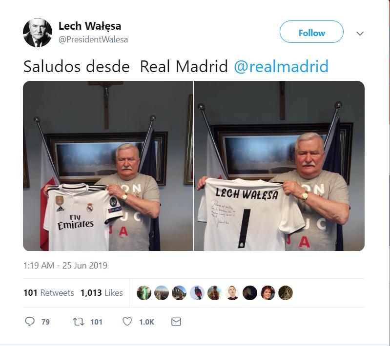 Według IPN i PiS Lech Wałęsa to TW Bolek. Na Twitter pozuje on z koszulką Real Madryt, użytkownicy pytają się o koszulkę z napisem konstytucja.