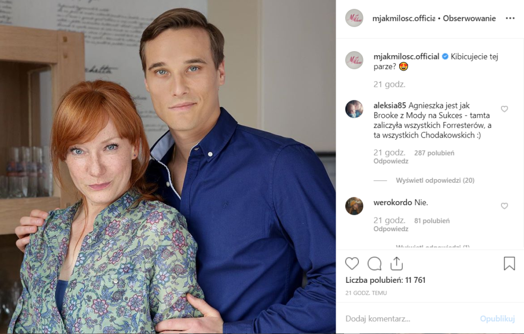 """Agnieszka, czyli Magdalena Walach, z serialu TVP """"M jak Miłość"""" zaatakowana. Oberwała na Instagram. Olek, czyli Maurycy Popiel też nie uszedł bez szwanku."""