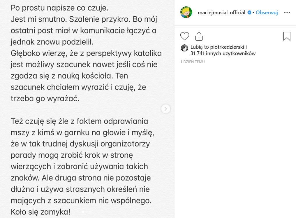 Musiał (Rodzinka.pl) wywołał ostatnio skandal na Instagram, gdzie poparł środ. LGBT. Wielu zarzuciło, że Musiał nie wie, co to wiara. Teraz się tłumaczy.