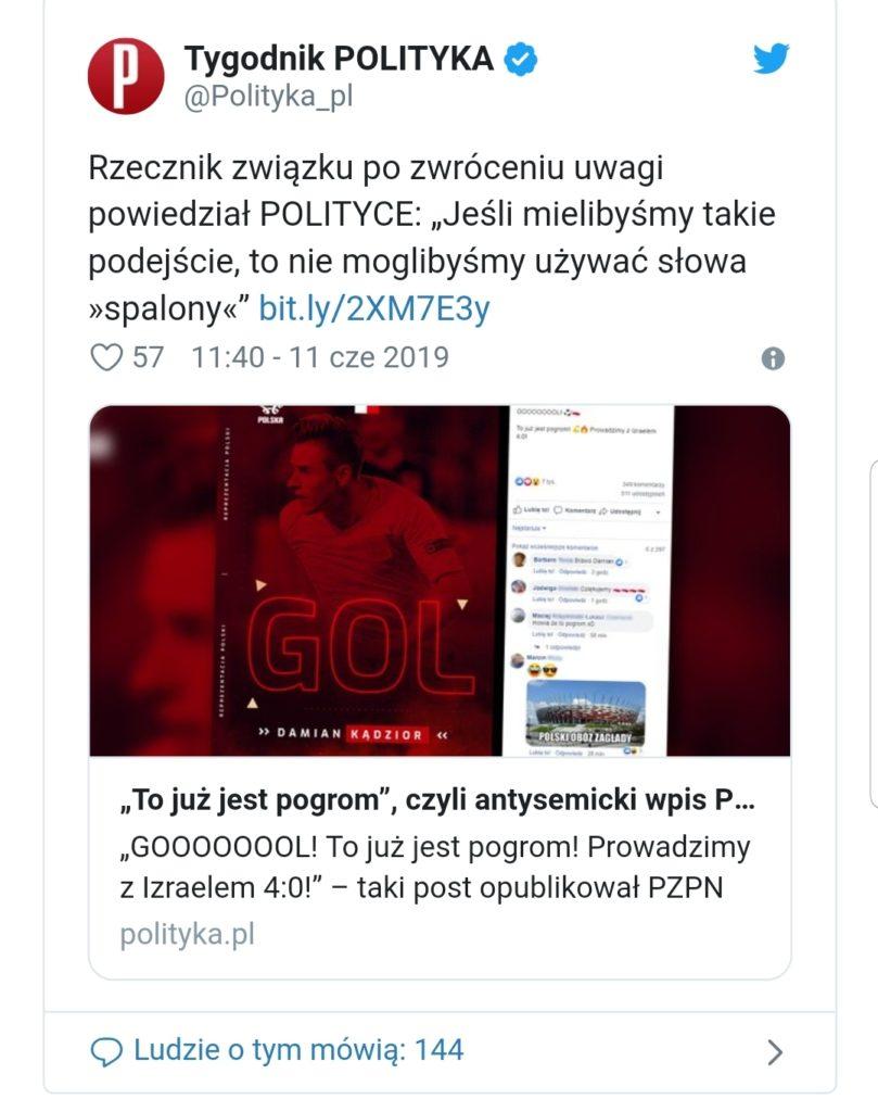Po meczu Polska Izrael na stadionie narodowym PZPN oskarżony o antysemityzm. Obłęd lewicowych mediów Polityki i TVN. Czy to juz obłęd?