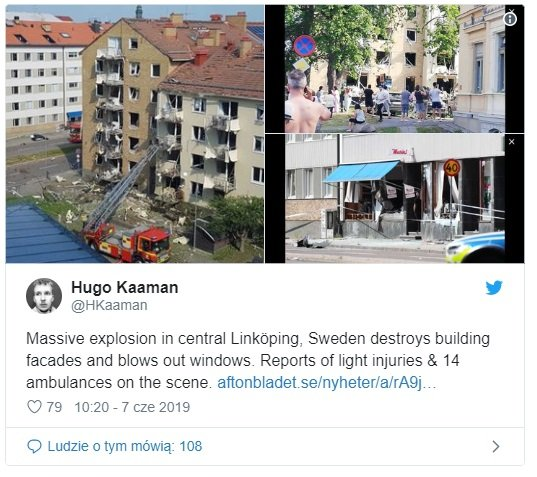 Szwecja potężny wybuch przeraził mieszkańców, o sprawie infomuje TVP Info, nie wykluczono że eksplozja to może być zamach, Twitter zdjęcia