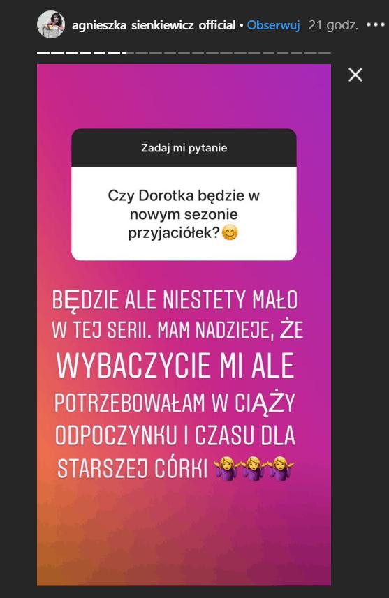 """Sienkiewicz odchodzi z serialu """"Przyjaciółki"""" (Polsat)? Aktorka wypowiedziała się na Instagram. Sienkiewicz występuje także w """"M jak Miłość"""" (TVP)."""