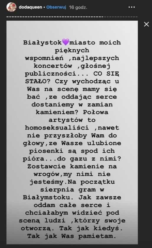 Doda stanęła w obronie LGBT. Dorota Rabczewska na portalu instagram apeluje do mieszkańców Białegostoku w związku z marszem równość (Parada równości)