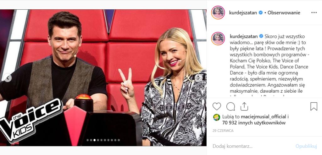 Kurdej Szatan (M jak Miłość, TVP) udziela wywiadu na YouTube. Ostatnio wypowiedziała się na temat odejścia z The Voice of Poland na Instagram.