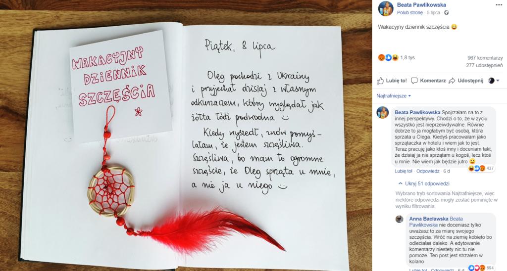 Beata Pawlikowska (Świat według blondynki, Radio Zet) wywołała burzę na Facebook i Instagram, zahaczyła o drażliwy temat, Ukraińcy.