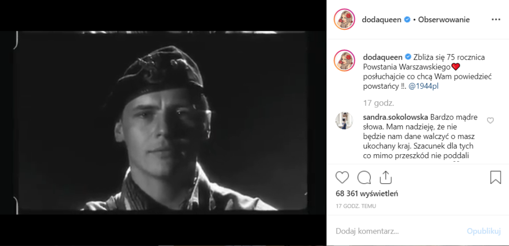Powstanie Warszawskie: To będzie już 75 rocznica, z tej okazji Dorota Rabczewska, czyli Doda (Kiedyś Virgin) opublikowała film na Instagram.