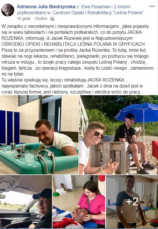 Jacek Rozenek (Barwy szczęścia, TVP) dzieli się info. jaki jest stan zdrowia. Czyni przez Facebook przyjaciółki Adrianna Biedrzyńska umieściła oświadczenie.