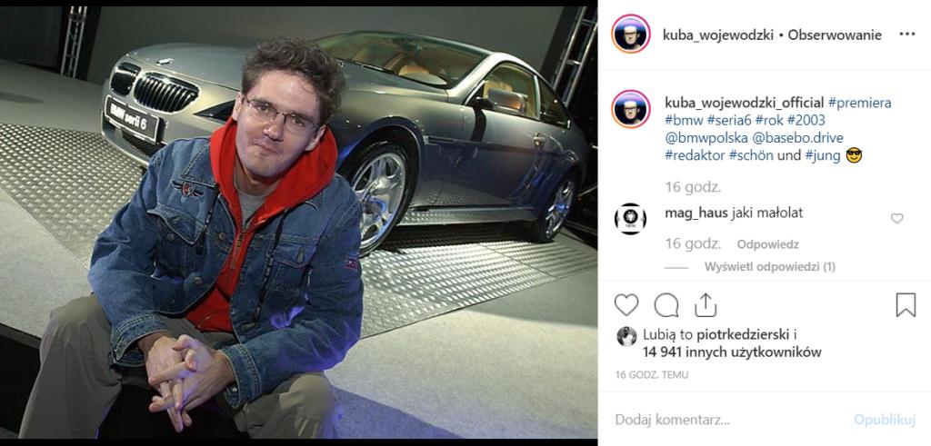 Wojewódzki (TVN) pochwalił się zdjęciem sprzed lat na Instagram, samochód, który widać w tle to BMW serii 6, jaki jest wiek celebryty na tej fotografii?