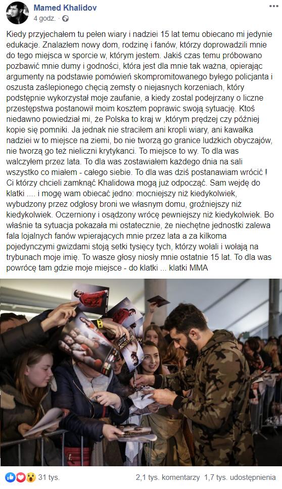 """Khalidov legenda MMA i mistrz KSW przerywa milczenie, wydaje oświadczenie na Facebook. Gwiazda filmu """"Underdog"""" zaskoczyła też fanów innym stwierdzeniem."""