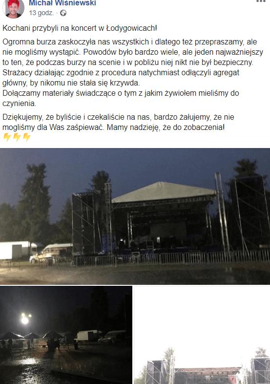 Wiśniewski odwołał koncert Ich Troje, poinformował o tym na Facebook i Instagram. Podobno nowa kobieta Wiśniewskiego się do niego wprowadziła.