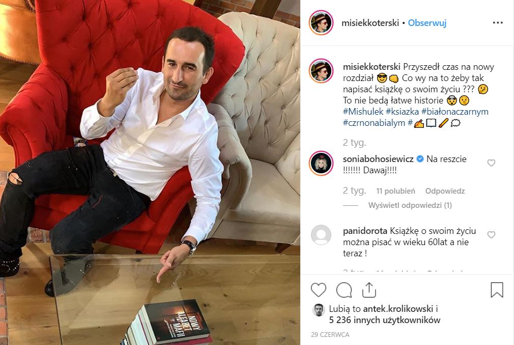 Misiek Koterski (Pierwsza miłość) chciałby, żeby książka o nim została wydana, wspomniał o tym na Instagram. Czy Kuba Wojewódzki (TVN) ma się czego obawiać?