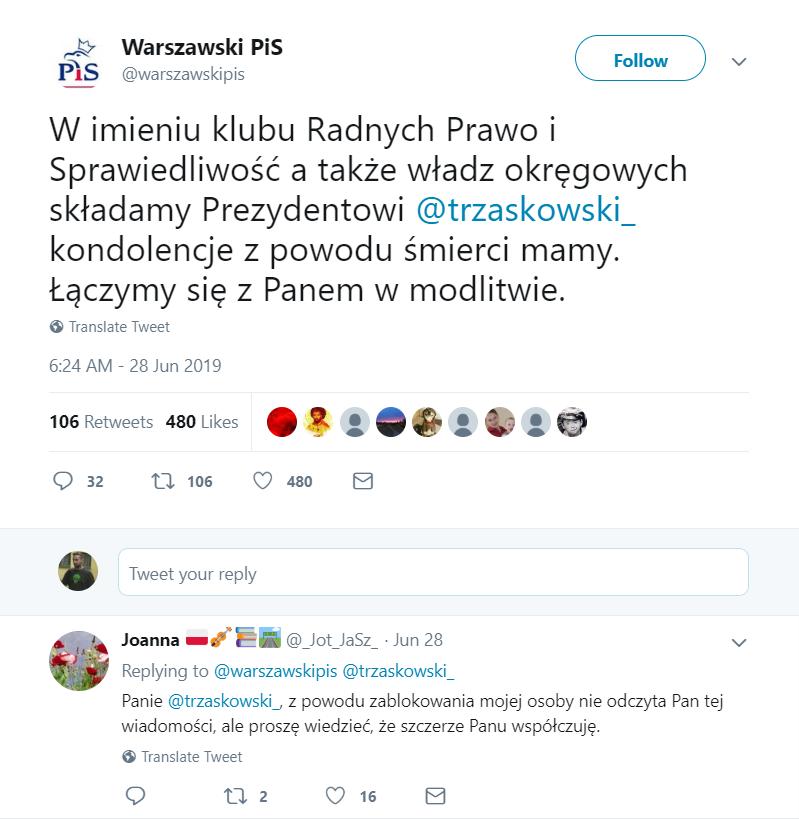 Rafał Trzaskowski (PO) poinformował, że zmarła mu matka. Na Twitter przeciwnicy z PiS także złożyli kondolencje mimo, że niedługo wybory odłożyli to na bok