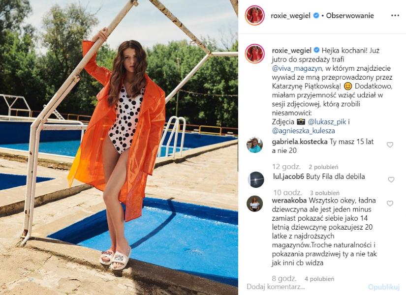Roksana Węgiel, czyli Roxie (The Voice Kids, TVP) pokazała się w stroju kąpielowym na portalu Instagram. Sesja zdjęciowa wywołała poruszenie wśród fanów.