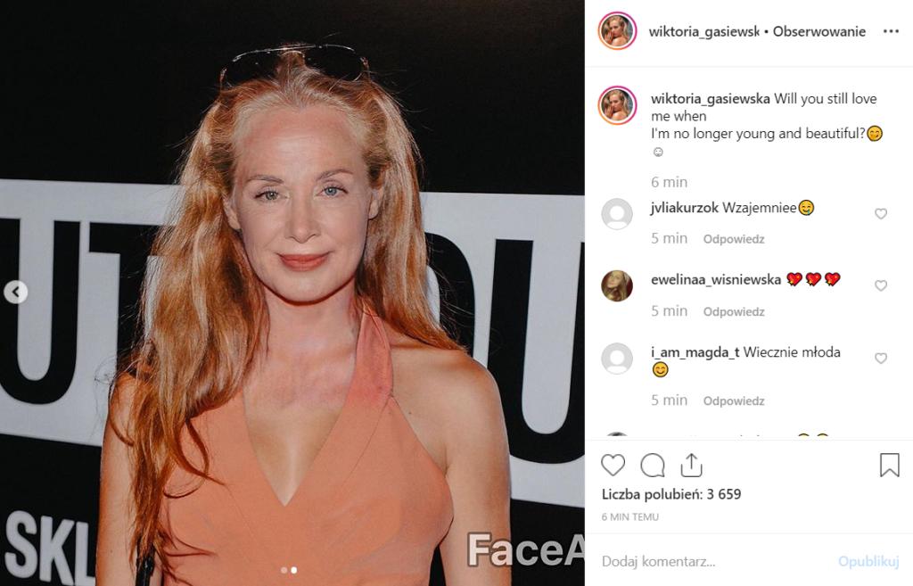 Wiktoria Gąsiewska (Rodzinka.pl, TVP) pokazała na portalu Instagram jak będzie wyglądać jak będzie stara. Wszystko dzięki aplikacji FaceApp.