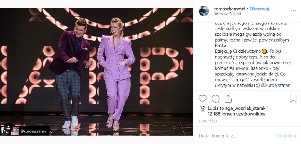 """Tomasz Kammel prowadzący """"The Voice of Poland"""", wyraził swoje poparcie na portalu Instagram względem zwolnionej z TVP Barbary Kurdej Szatan."""