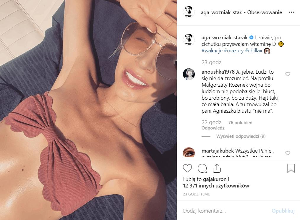 Woźniak Starak (Dzień Dobry TVN, Ameryka Express), zaprezentowała się w bikini na portalu Instagram, fani pytają się gdzie są piersi, usuneła implanty.