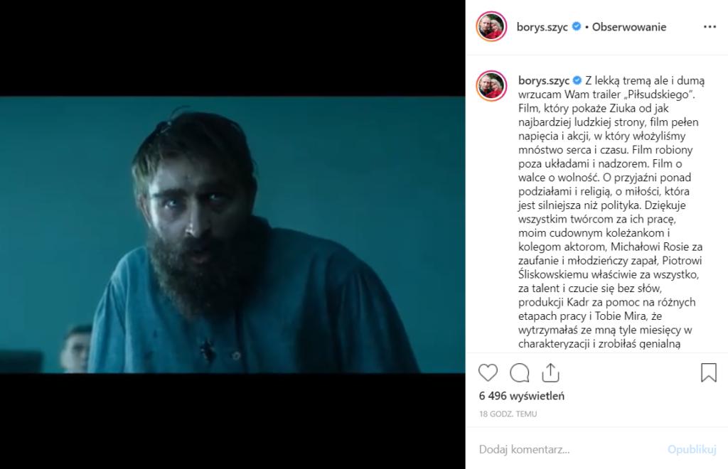 Borys Szyc (ostatnio Kamerdyner) jak Piłsudski już niedługo w kinach, premiera 27.09 gra tam także Magdalena Boczarska, aktor pochwalił się tym na Instagram