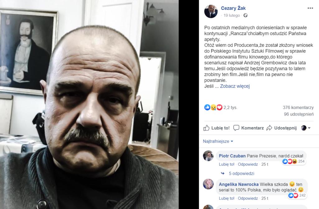 Cezary Żak może nie wystąpić w Ranczo Wilkowyje (TVP), skomentował to na portalu Facebook. Inni aktorzy m.in. Ilona Ostrowska potwierdzają swój udział.