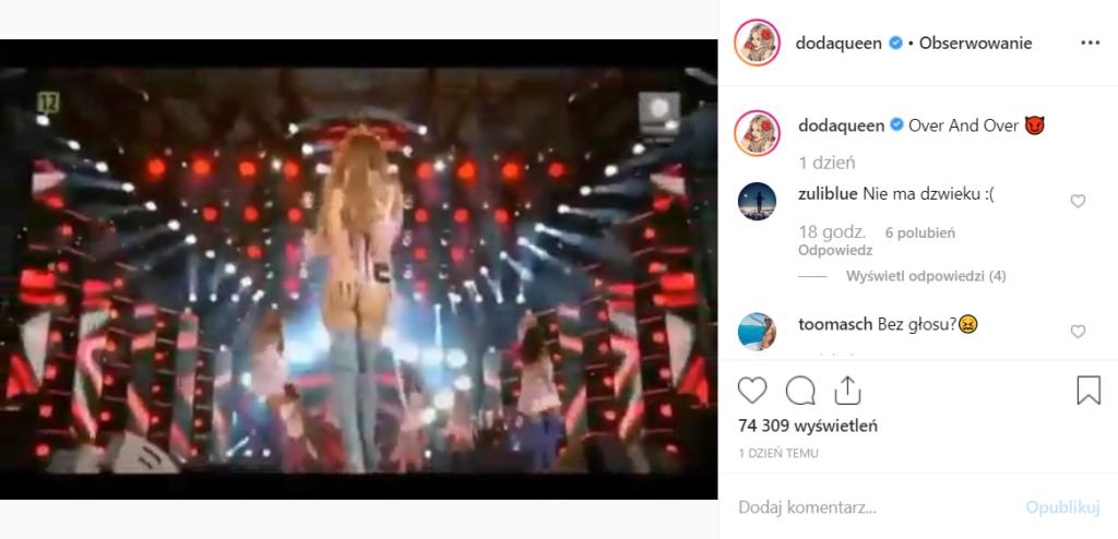 Doda (Dorota Rabczewska) pokazała pośladki na koncercie z zespołem Virgin. Wszystko transmitował Polsat a artystka pochwaliła się tym na portalu Instagram