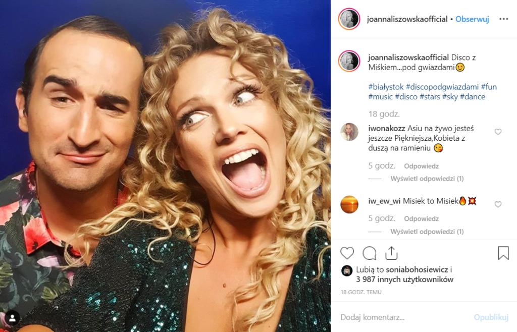 Liszowska (Przyjaciółki, Polsat) i Koterski na Disco pod Gwiazdami. Aktorka wykonała utwór Aleja gwiazd Zdzisławy Sośnickiej.