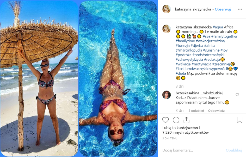 """Katarzyna Skrzynecka, która wystepuje w serialu Polsat """"W rytmie serca"""", pokazała się w bikini na portalu Instagram, wygląda jak za młodu w Playboy."""