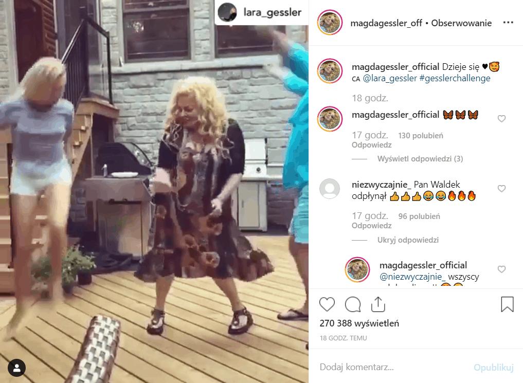 Magda Gessler (Kuchenne rewolucje, TVN) tańczy na portalu Instagram, towarzyszy jej córka Lara Gessler oraz partner życiowy Waldemar Kozerawski