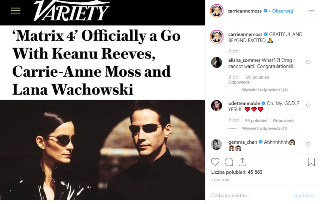 Powstanie Matrix 4! Poinformowała o tym na Instagram Carrie-Anne Moss, czyli Trinity. Potwierdziła także, że w obsadzie filmu znajdzie się Keanu Reeves.