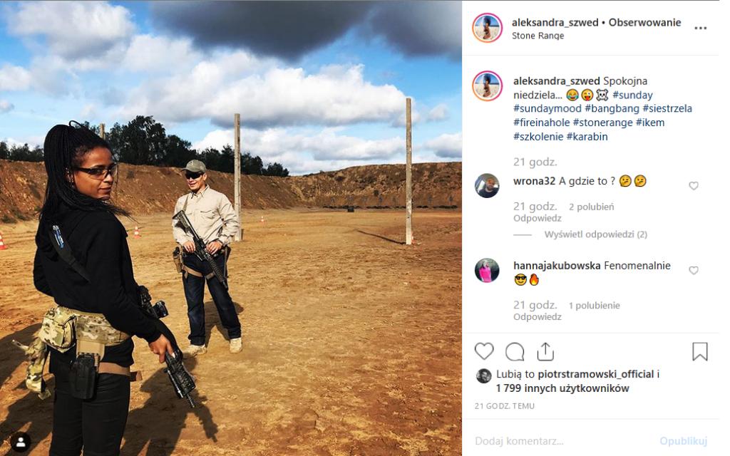Aleksandra Szwed (Ninja Warrior, Polsat) ujawnia na profilu Instagram nowy sposób na niedzielę. Broń, słońce i ostra amunicja.