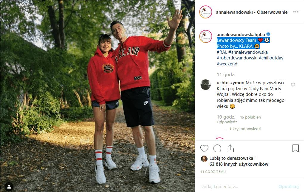 """Lewandowscy na spacerze. To nie jest zwykła fotografia. Czy Klara Lewandowska znalazła hobby? Anna Lewandowska i """"Lewy"""" nie mówią """"nie""""."""