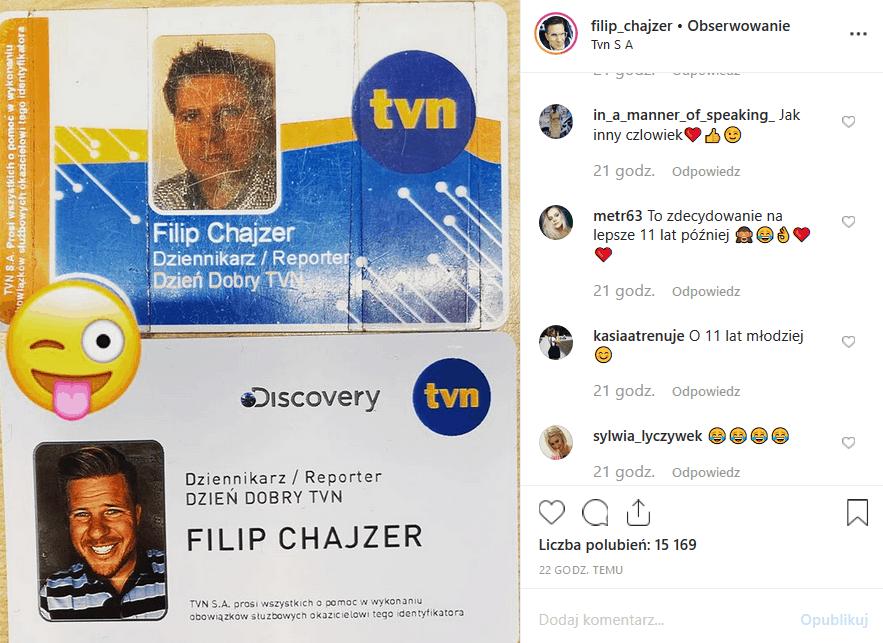 """Filip Chajzer z programów """"Wchodzę w to"""", """"Dzień dobry TVN"""" i """"Big Brother"""", wrzucił na Instagram pewne zdjęcie. Czy to nowy Krzysztof Ibisz?"""