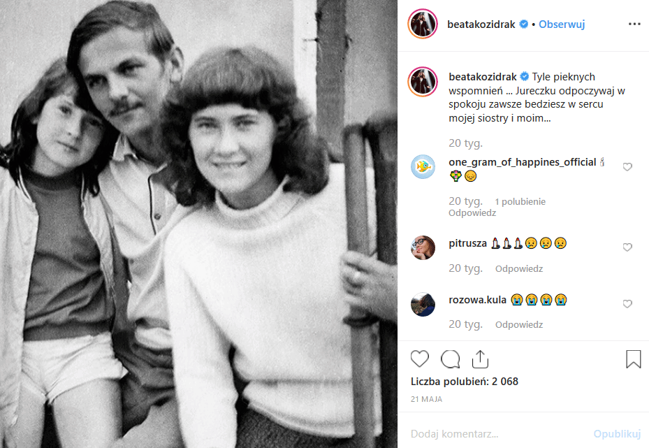 Kolejna śmierć doświadcza Bajm, Beata Kozidrak milczy na portalach Facebook i Instagram. Andrzej Pietras, były mąż piosenkarki infromuje o śmierci siostry.