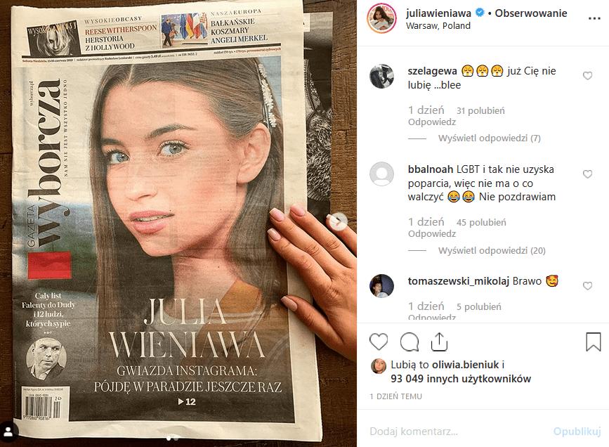 """Wieniawa nominowana do nagrody Róże Gali za poparcie dla LGBT. Parada Równości podzieliła Instagram. Czy aktorka """"Rodzinka pl"""" i """"Zawsze warto ucierpi""""?"""