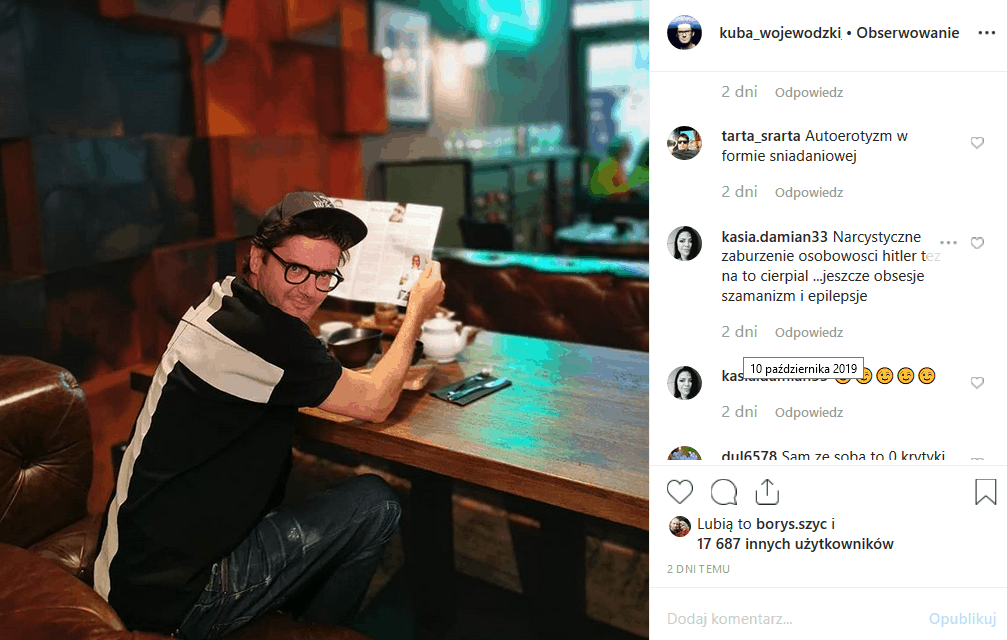 """Nowy biznes gwiazdora """"Kuba Wojewódzki show"""" to restauracja """"Niewinni Czarodzieje"""", którą promuje na portalu Instagram. Czy jednak Król TVN nie przesadza?"""