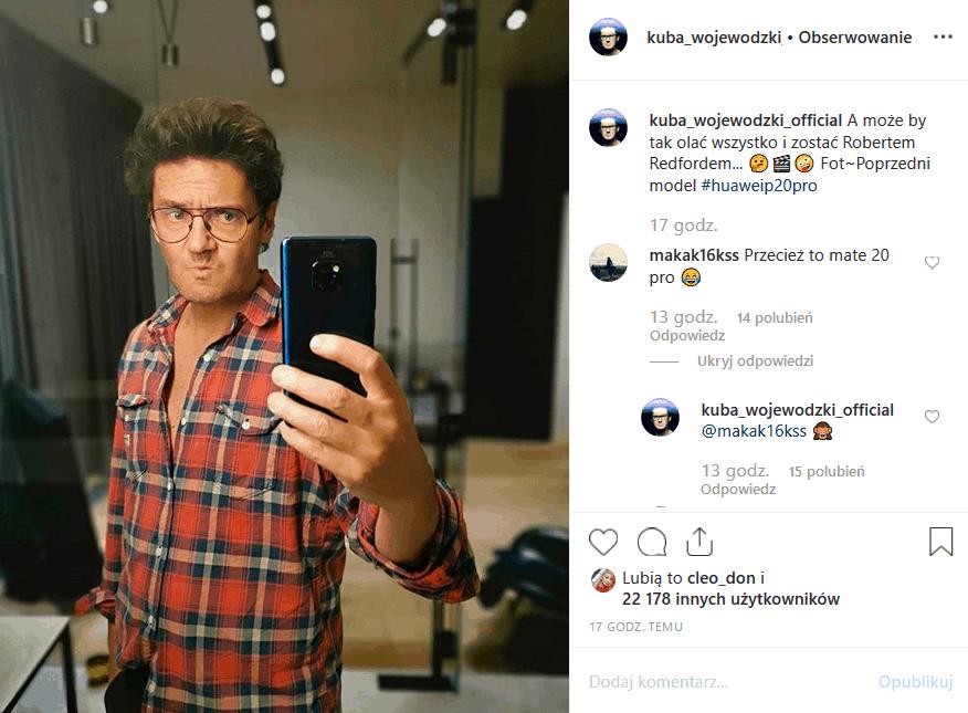 """Gospodarzowi """"Kuba Wojewódzki"""" show przydarzyła sie wpadka w serwisie Instagram. Król TVN jest ambasadorem Huawei, ale chyba nie do końca wie co i jak."""