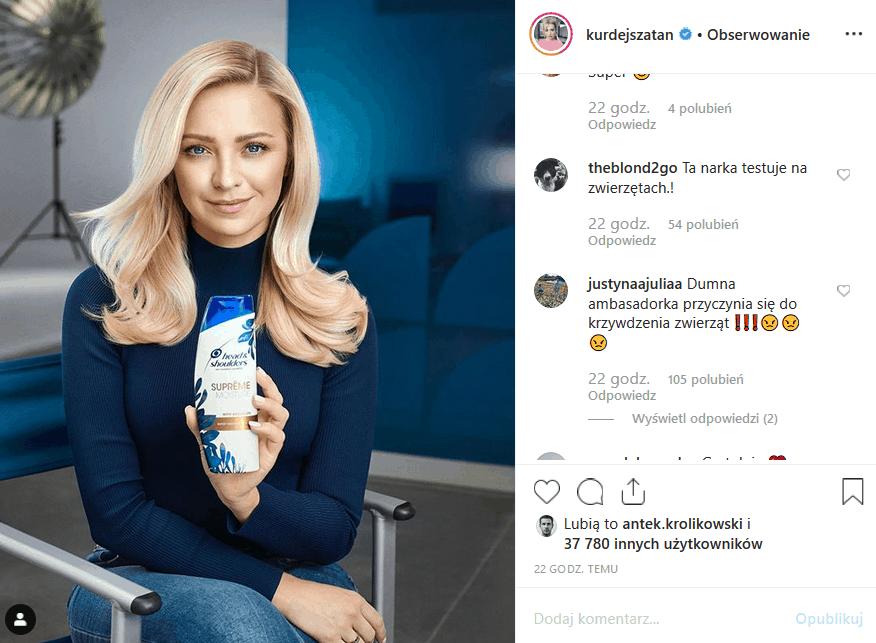 """Wielka wpadka Kurdej Szatan! Gwiazda serialu """"M jak miłość"""" i show """"Taniec z gwiazdami"""" (Polsat) wzburzyła Instagram reklamą, w której wzięła udział."""