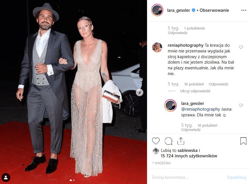 Lara Gessler, a ściśle jej dekolt, to hit platformy Instagram. Kreacja z balu Fundacji TVN przyćmiła nowego faceta gwiazdy, którym okazał się Piotr Szeląg.
