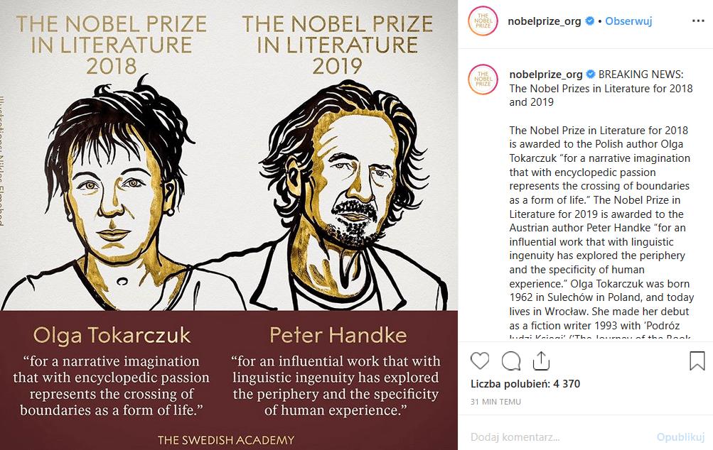 """Literacki Nobel dla Tokarczuk! Literacka Nagroda Nobla powędruje do autorki książki """"Księgi Jakubowe"""". Facebook i inne media toną w gratulacjach od fanów."""