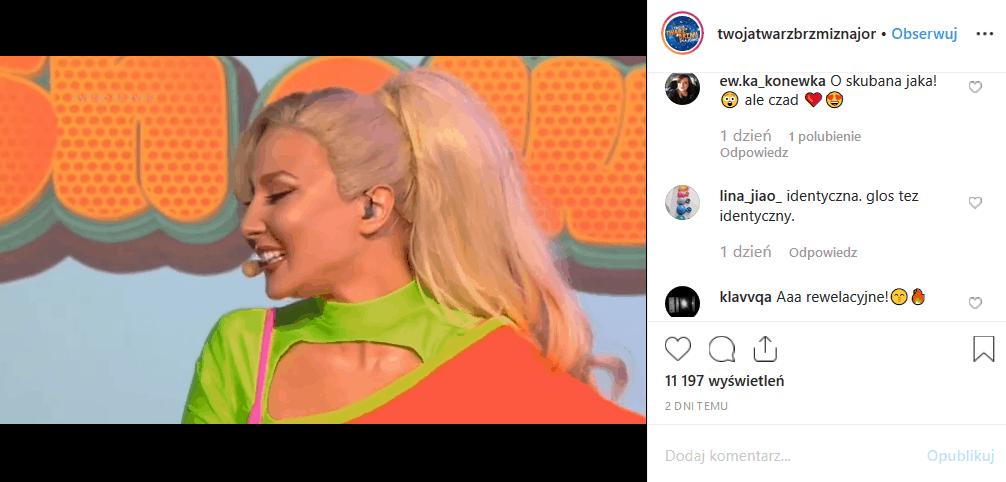 """""""Twoja twarz brzmi znajomo"""" TV Polsat wrzucił na Instagram filmik, na którym Kasia Ptasińska (""""Na Wspólnej"""") wciela się w Cleo. Podobieństwo jest szokujące!"""