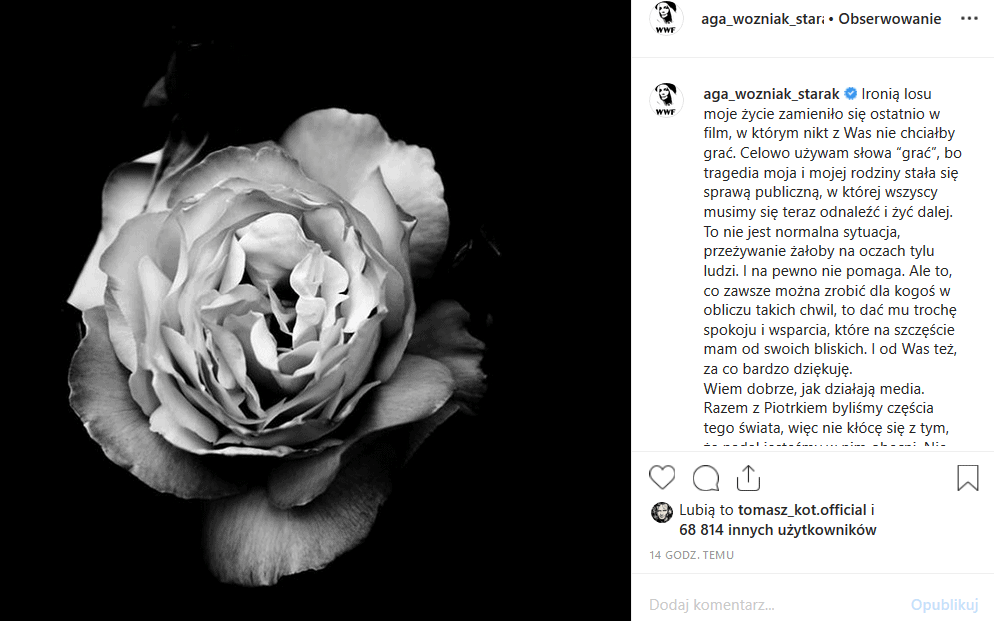 Agnieszka Szulim straciła męża. Śmierć jaką poniósł Piotr Woźniak Starak na Mazurach wywołała falę plotek. Gwiazda TVN dementuje je na portalu Instagram.