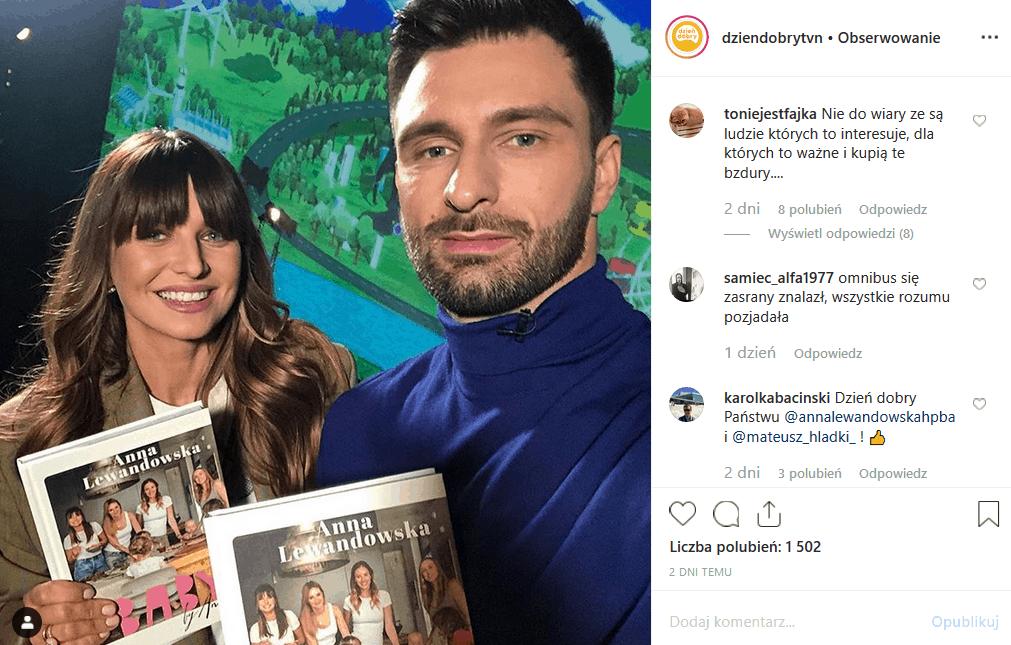 Anna Lewandowska w ciąży sprzedaje w stacji TVN swą książkę, ale Instagram ma jej dość. Co na to Robert Lewandowski (Bayern Monachium)?