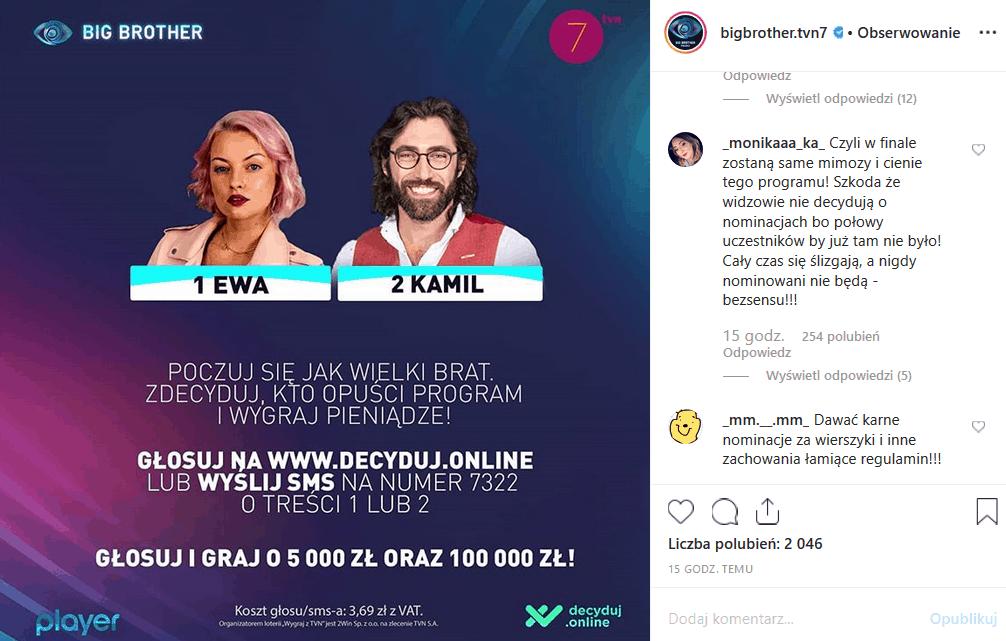 """4 listopada zaczyna sie nowy tydzien w """"Big Brother"""" (TVN7). Choć Facebook i Instagram protestuje, Kamil Lemieszewski znów został nominowany."""