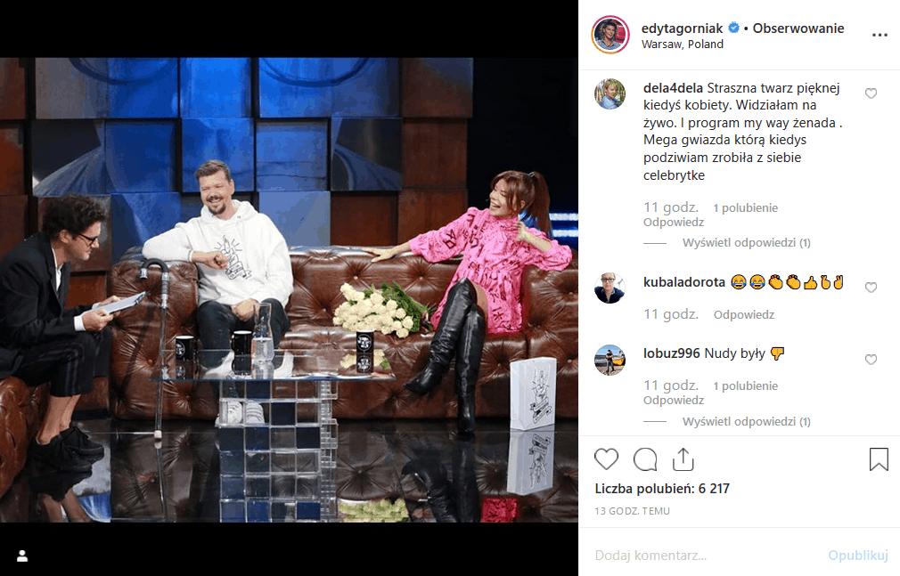 """Edyta Górniak (""""My way"""") u Wojewódzkiego (""""Kuba Wojewódzki show"""", TVN) nie zrobiła dobrego wrażenia na fanach. Czy Król TVN uratuje jej program?"""