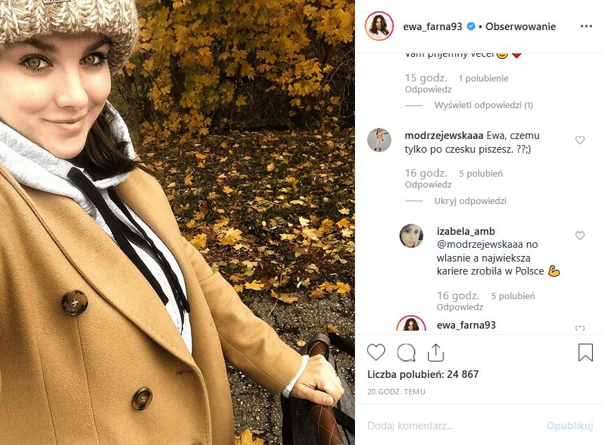 """Ewa Farna (""""Cicho"""") ma Instagram w dwóch językach (czeski i polski). Część fanów gwiazdy Telekamery"""" i """"Polsat SuperHit Festiwal"""" ma jej to za złe."""