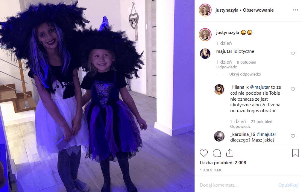 """Piotr i Justyna Żyła (""""Taniec z gwiazdami"""") rozstali się w gniewie i kobietę wciaż spotyka hejt. Instagram krytykuje przebieranie jej dzieci na Halloween."""