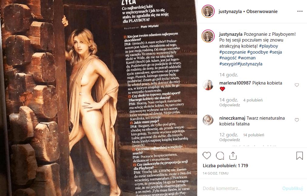 """Justyna Żyła pokazuje się nago na portalu Instagram. Gwiazda show """"Taniec z gwiazdami"""" przypomniała swą sesję dla gazety Playboy. Piotr Żyła niech żałuje!"""
